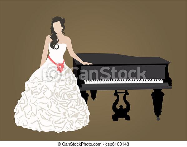 bridal dress and black grand piano  - csp6100143
