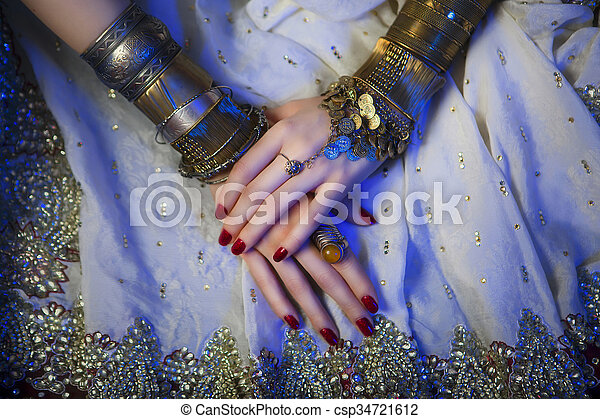 Bridal Oriental Jewelry and Accessories: Female Hands with India - csp34721612