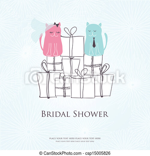 Bridal shower invitation card with two cute cats sitting on the present boxes - csp15005826