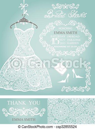 Bridal shower invitation setwinter weddinglace dress bridal bridal shower invitation setwinter weddinglace dress csp32855524 filmwisefo