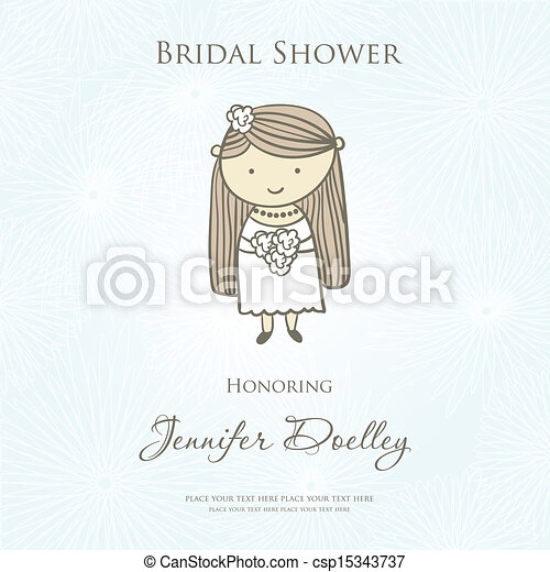 bridal shower or wedding invitation with cute cartoon bride