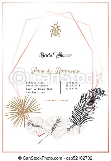 Bridal Shower Vector Template Design Gold And Black Palm Leaves