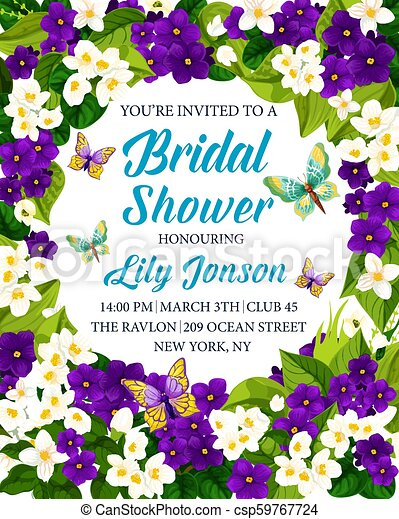 Bridal Shower Wedding Invitation With Flower Frame