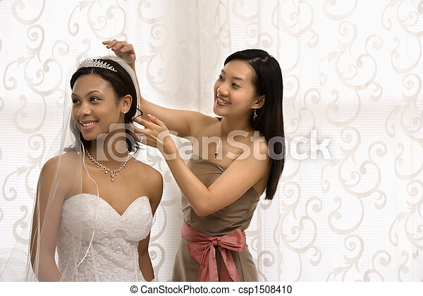 Bride and bridesmaid portrait. - csp1508410