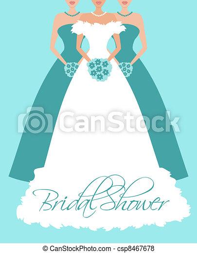 Bride and Bridesmaids in Blue - csp8467678