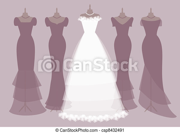 bride and bridesmaids outfits eps 10 vector illustration of four rh canstockphoto com bridesmaid dress clipart bridesmaid clip art silhouette