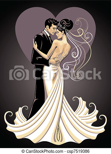 bride and fiance - csp7519386
