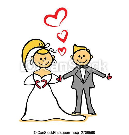 bride and gloom marriage cartoon character - csp12706568