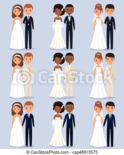 Bride and groom animated characters. Vector illustration. - csp48913573