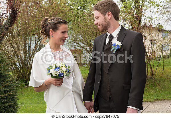 Bride and groom are happy - csp27647075