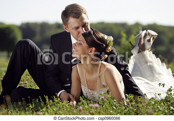Bride and Groom being romantic - csp0960066
