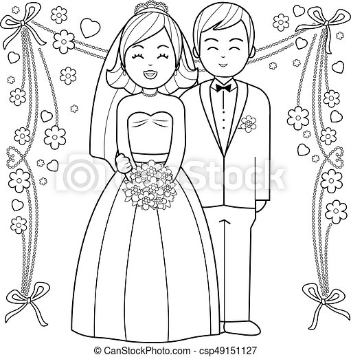 Bride and groom black and white coloring book page csp49151127