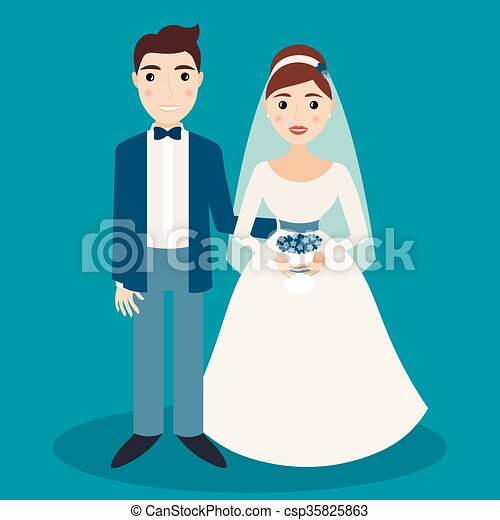 Bride and groom characters isolated on blue background - csp35825863