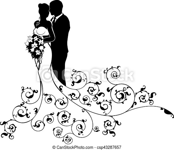 Bride and Groom Couple Wedding Silhouette Abstract - csp43287657
