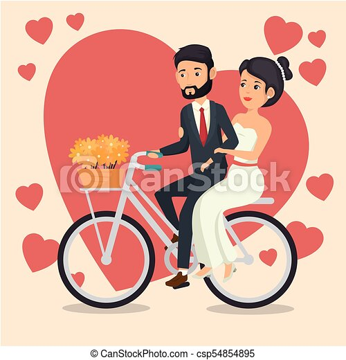 Bride And Groom Design Bride And Groom Riding A Bike With Flowers