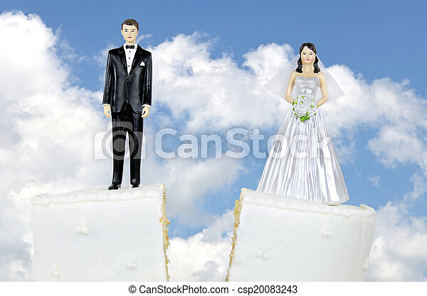 bride and groom divorce cake - csp20083243