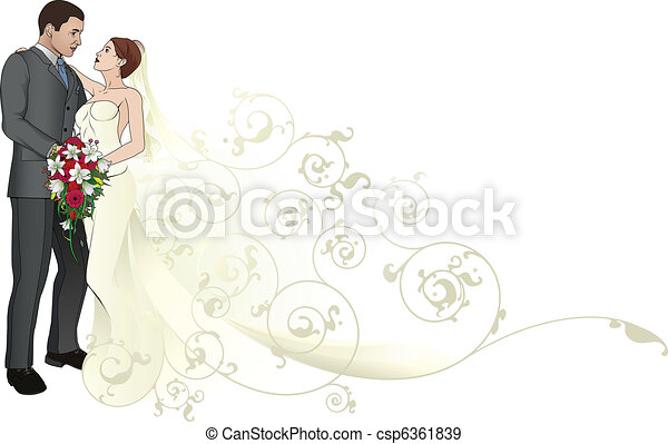 Bride and groom embracing background pattern - csp6361839