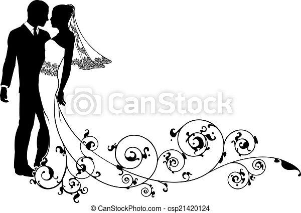 Bride and groom floral design - csp21420124