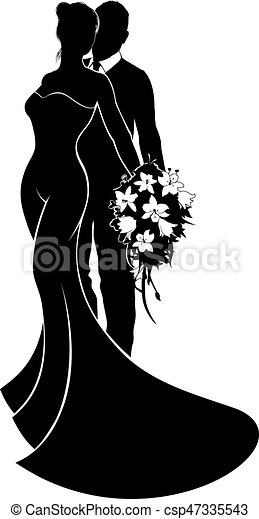 Bride and groom flowers wedding silhouette a bride and eps bride and groom flowers wedding silhouette vector junglespirit Gallery