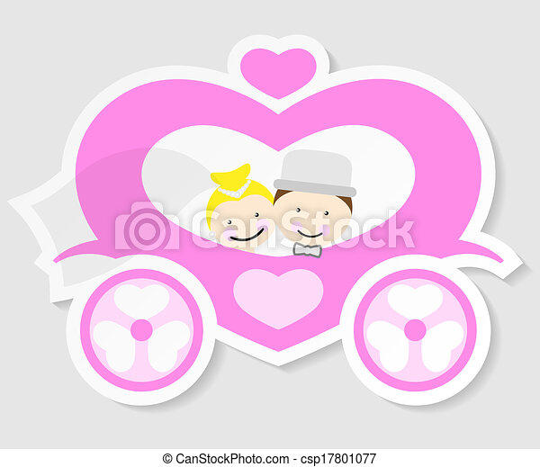 bride and groom in a wedding carriage - csp17801077
