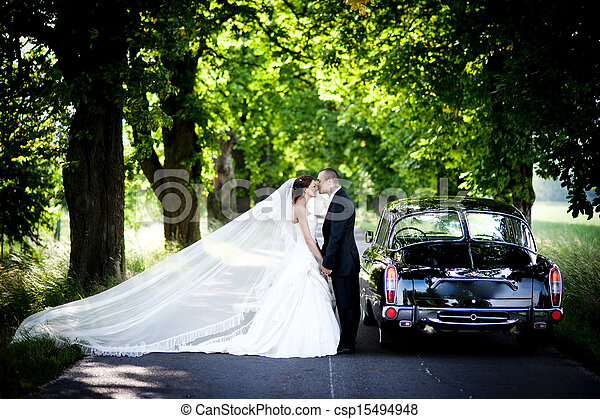 Bride and groom in car - csp15494948