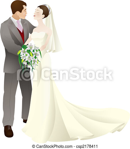 bride and groom in love wedding vector illustration - csp2178411