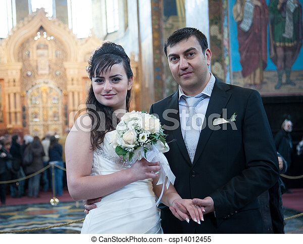 Bride and groom in the church museum - csp14012455