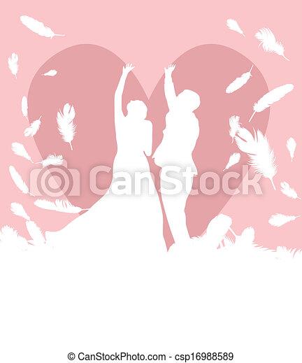 Bride and groom in wedding - csp16988589