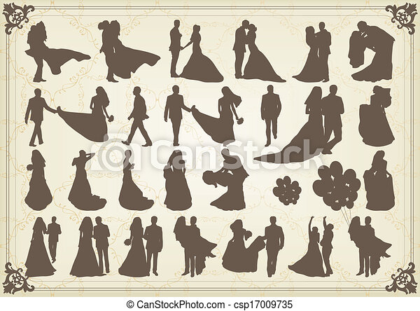 Bride and groom in wedding silhouettes illustration collection - csp17009735