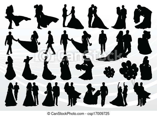 Bride and groom in wedding silhouettes illustration collection - csp17009725