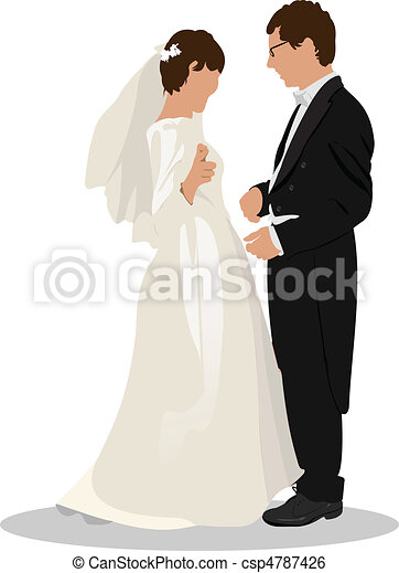 Bride and groom isolated on white  - csp4787426