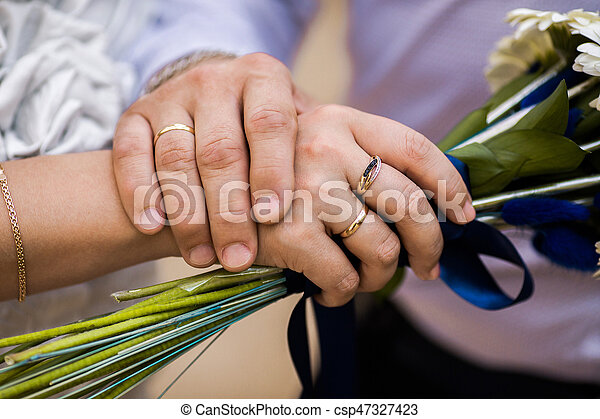 Which Hand Wedding Ring Female.Bride And Groom Next To Wedding Rings On Their Hands Male And Female Hand With Wedding Rings Wedding Ceremony Together Forever Wedding Flowers