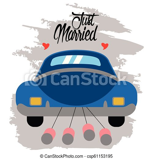 Bride and groom on a car. Just married couple - csp61153195