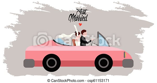 Bride and groom on a car. Just married couple - csp61153171