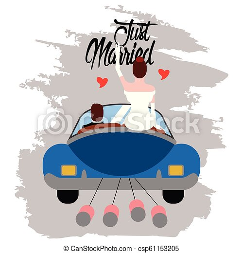 Bride and groom on a car. Just married couple - csp61153205