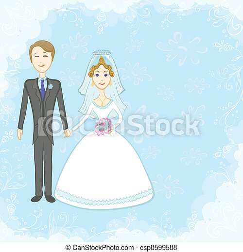 Bride and groom on blue background - csp8599588