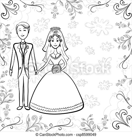 Bride and groom on floral background, contour - csp8599049
