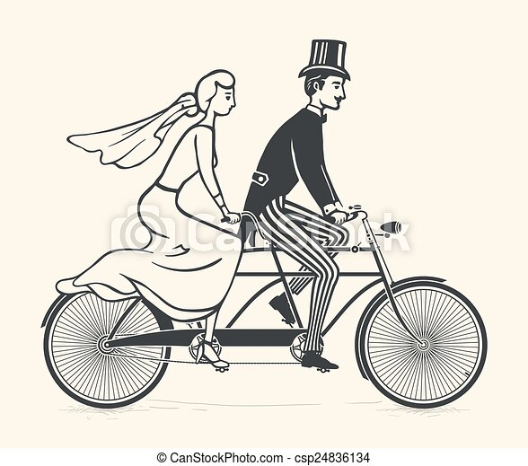 Bride and groom riding a bicycle - csp24836134