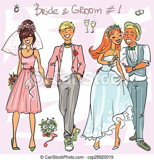 Bride and Groom set 1 - csp28920019