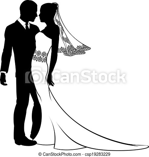 Bride and groom silhouette - csp19283229