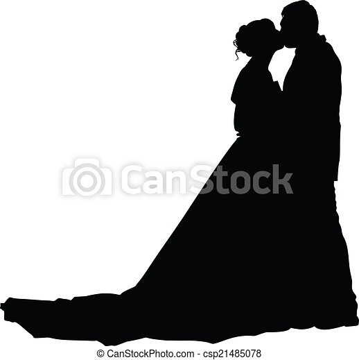 Bride and groom silhouette - csp21485078