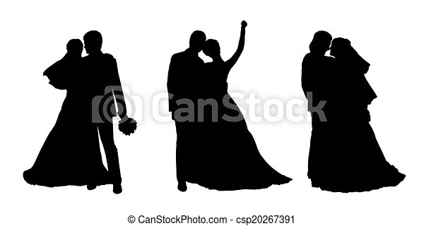 Bride And Groom Silhouettes Set 2