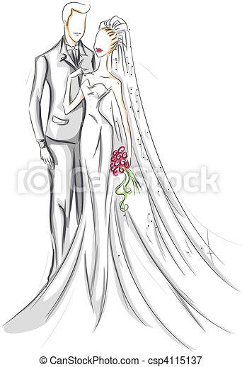 Bride and Groom Sketch - csp4115137