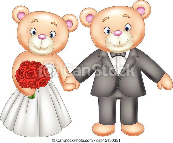 Bride and groom teddy bears getting married - csp45150331