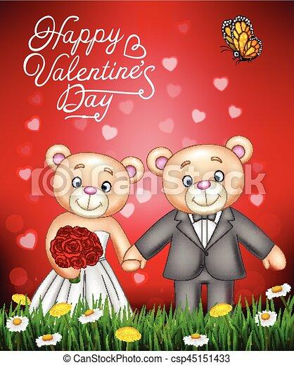 Bride and groom teddy bears getting married - csp45151433