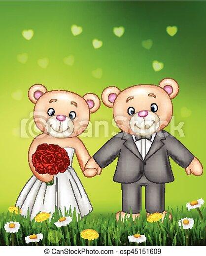 Bride and groom teddy bears getting married - csp45151609