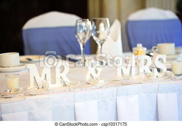 Bride And Groom Top Table Stock Photo