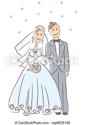 Bride and groom .Vector wedding ceremony - csp6535148