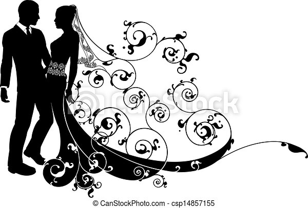 Line Art Couple : Bride and groom wedding couple silhouette an illustration