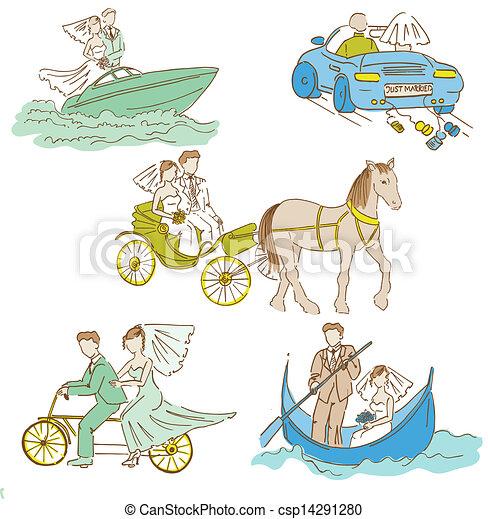 Bride and Groom - Wedding Doodle Set - Design Elements for Scrapbook, Invitation in vector - csp14291280